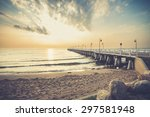gdynia orlowo pier. vintage... | Shutterstock . vector #297581948