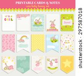 cute bunny card set. for... | Shutterstock .eps vector #297587018