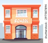 school building  welcome back... | Shutterstock .eps vector #297587894