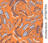 seamless ornament with orange... | Shutterstock .eps vector #297587954