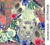 seamless vintage style pattern...   Shutterstock .eps vector #297590438