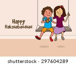 cute little brother and sister... | Shutterstock .eps vector #297604289