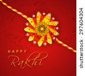 beautiful shiny rakhi on floral ... | Shutterstock .eps vector #297604304