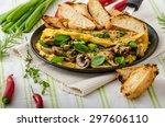 omelet with mushrooms  lamb's... | Shutterstock . vector #297606110