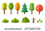 isolated cartoon trees and... | Shutterstock .eps vector #297606743