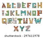 vector font in cartoon style.... | Shutterstock .eps vector #297611978