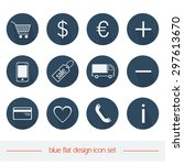 blue flat icon set for e shop