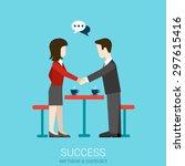 flat web partnership success... | Shutterstock .eps vector #297615416