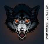 angry wolf head | Shutterstock .eps vector #297616124