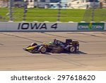 Newton, Iowa USA - July 17, 2015: Verizon IndyCar Series Iowa Corn Indy 300. Tony Kanaan fastest in qualifying both sessions, second in pole qualifying. - stock photo