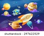 solar system of planets  vector ... | Shutterstock .eps vector #297622529