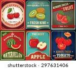 vintage farm fresh fruit poster ... | Shutterstock .eps vector #297631406