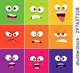 cartoon faces with emotions v.11 | Shutterstock .eps vector #297637328
