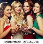 group of partying girls... | Shutterstock . vector #297657248