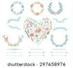 set of vector floral decorative ... | Shutterstock .eps vector #297658976