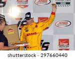 Newton, Iowa USA - July 18, 2015: Verizon IndyCar Series Iowa Corn Indy 300. Ryan Hunter-Reay wins at Iowa for the third time. Victory lane pizza. - stock photo