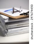 big stack of papers  documents... | Shutterstock . vector #297674450
