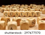 quality  word written on wood... | Shutterstock . vector #297677570