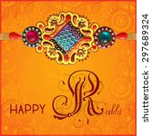 happy rakhi greeting card for... | Shutterstock .eps vector #297689324