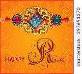 happy rakhi greeting card for... | Shutterstock .eps vector #297691370
