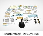 businessman sitting and looking ... | Shutterstock . vector #297691658