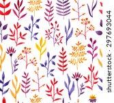 vector watercolor floral... | Shutterstock .eps vector #297693044