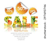 word sale with autumn leaf and... | Shutterstock .eps vector #297693746