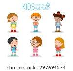 kids go to school  back to... | Shutterstock .eps vector #297694574