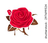 red rose with chocolate leaves | Shutterstock .eps vector #297699524