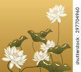 chinese painting   lotus flower | Shutterstock .eps vector #297704960