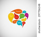 speech bubbles icon with short... | Shutterstock .eps vector #297706148