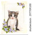 vintage postcard with kitten. ... | Shutterstock .eps vector #297709100