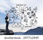 businessman standing on a rock...   Shutterstock . vector #297712949