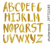 vector alphabet in gold sequins.... | Shutterstock .eps vector #297722183