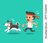 cartoon man running with his... | Shutterstock .eps vector #297723044