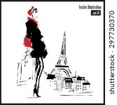 woman with eiffel tower on... | Shutterstock .eps vector #297730370
