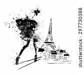 fashion girl in sketch style.... | Shutterstock .eps vector #297730388