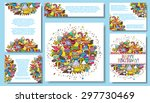 set vector card templates with... | Shutterstock .eps vector #297730469
