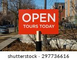 Stock photo sign advertising campus tours at the university of chicago in the hyde park nieghborhood of chicago 297736616