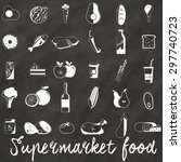 icons used in supermarket white.... | Shutterstock .eps vector #297740723