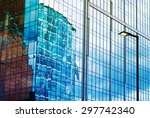 the skyscraper wall of glass... | Shutterstock . vector #297742340