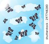background with butterflies | Shutterstock .eps vector #297748280