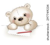 teddy writes a letter to a... | Shutterstock .eps vector #297749234