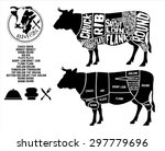 beef cuts diagram and logo ... | Shutterstock .eps vector #297779696