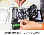 fiber optic cable for network... | Shutterstock . vector #297780290
