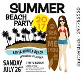 summer party flyer template.... | Shutterstock .eps vector #297783530