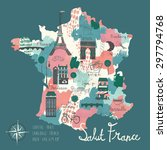 simple cartooned map of france... | Shutterstock .eps vector #297794768