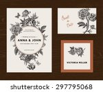 Stock vector wedding set menu save the date guest card black and white flowers peonies vintage vector 297795068