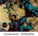 vector gold and blue marbled... | Shutterstock .eps vector #297812846