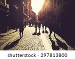 walking on the street  | Shutterstock . vector #297813800
